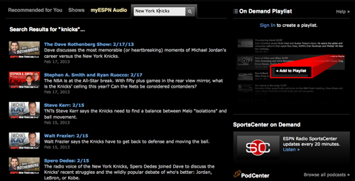 New York Knicks ESPN Radio 98.7
