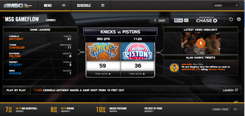 New York Knicks MSG Gameflow